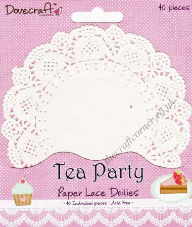 Tea Party 40 Circle Paper Lace Doilies by Dovecraft
